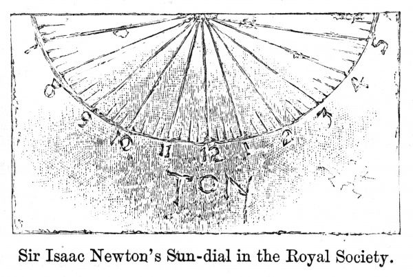 Sir Isaac Newton's sundial in the Royal Society. Date: late 17th century
