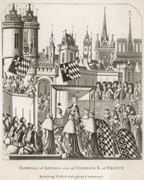 The triumphal entry of Isabeau de Baviere (Isabella of Bavaria) into Paris to marry the teenaged Charles VI - who, sadly, will go mad while she will become a traitor