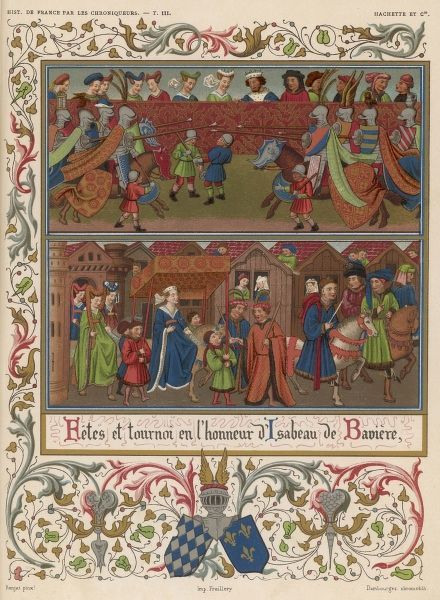 Tournament and other festive happenings in honour of Isabeau de Baviere, the queen of Charles VI, when she arrived at Paris