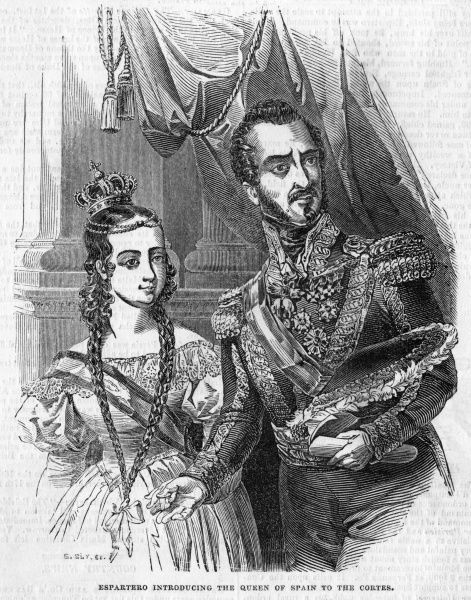 Baldomero Espartero, statesman and general who brought the Carlist wars to a successful finale, presents the 12-year old Isabela to the Cortes