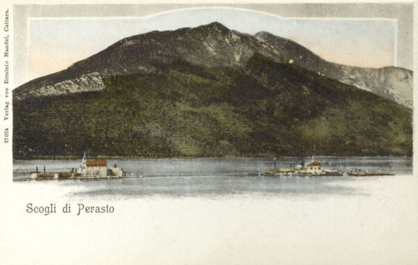 The two Islets off Perast - Kotor Bay, Montenegro. Our Lady of the Rocks (Gospa od Skrpjela) and Sveti Dorde Island, created by bulwark of rocks and by sinking old and seized ships loaded with rocks! Date: circa 1910s
