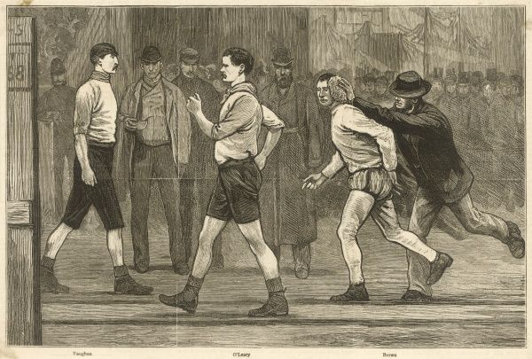 The Six Days' Pedestrian Race at the Agricultural Hall, Islington. (Vaughan on the left, O'Leary centre and Brown being sponged on left)