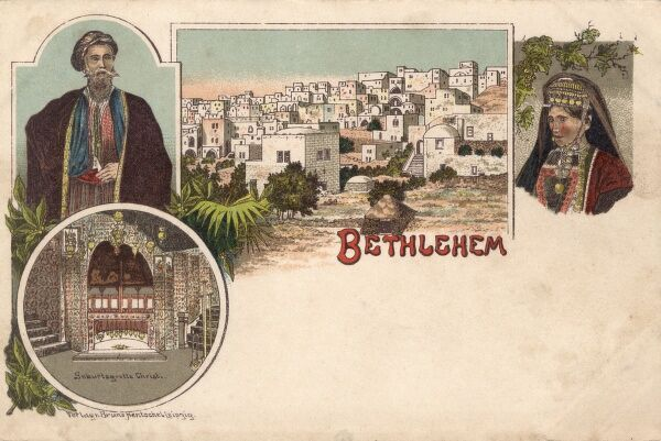 Israel - Bethlehem with inset views of the local costume and the grotto. At this stage under Ottoman control. Date: 1897