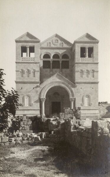 Israel - Church on Mount Tabor in Lower Galilee, at the eastern end of the Jezreel Valley. This postcards shows the Church of Transfiguration at the summit, which is divided into Eastern Orthodox (northeast) and Roman Catholic (southeast) areas