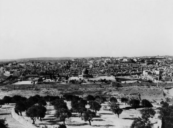A fine overview of the ancient city of Jerusalem, Israel. Date: 1930s