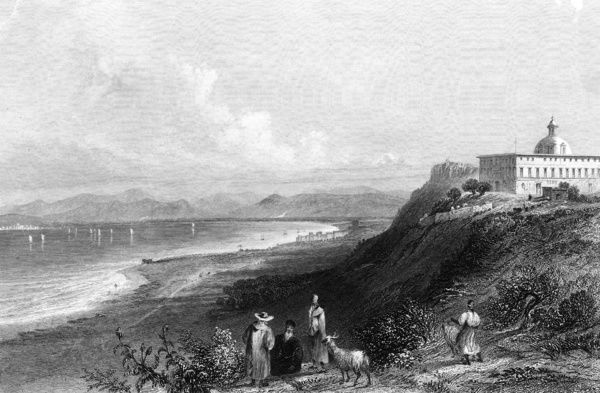 Israel Mount Carmel. The convent on Mount Carmel, looking towards Haifa. Date: circa 1835