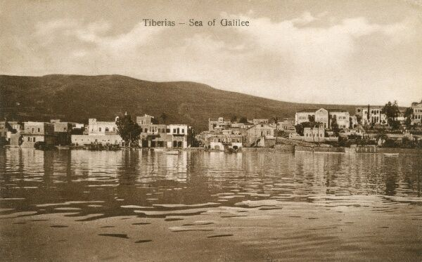 Toward the shores of Lake Tiberias (Sea of Galilee or Lake Kinneret), Israel. Date: 1924