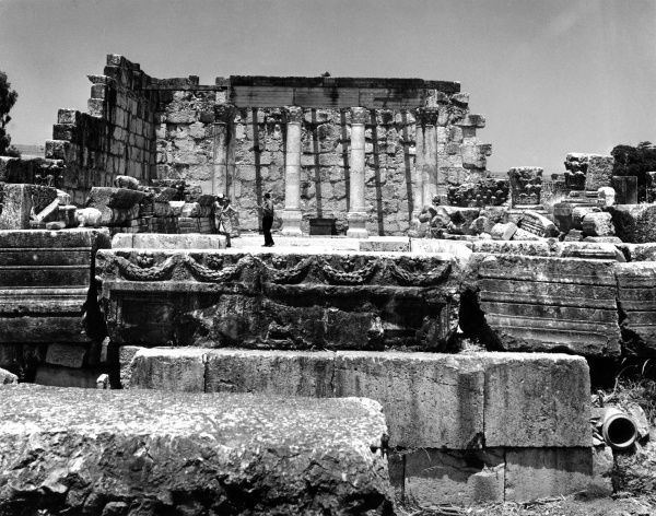 The ruins of an ancient synagogue in Israel. Date: 1960s