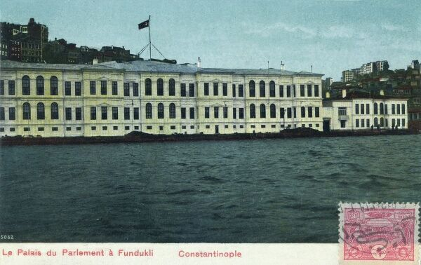 At this date, the Turkish Ottoman Sultan was forced to have a type of Parliament - and this is the building which held the government at Fundukli on the Bosphorus