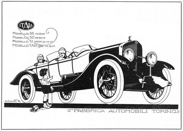 A small boy with a toy car gives directions to the driver of a splendid Itala touring car