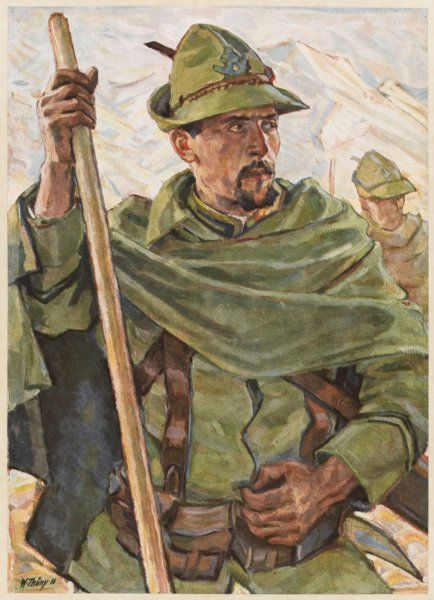 An Italian soldier of an Alpine mountain regiment, during World War One