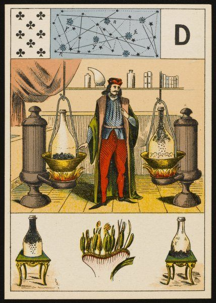 An alchemist, between two furnaces, depicted on a fortune-teller's card