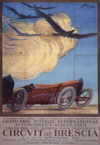 Poster for the meeting of the first ever Italian Grand Prix, held at Brescia - 4th to the 11th September 1921. The meeting also includes racing for aeroplanes and motorcycles