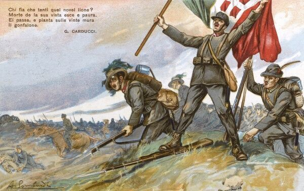 Patriotic propaganda postcard commemorating the brave Italian attack into Austria Hungary, after agreeing to join the First World War on the Allied side in June 1915. Date: 1916