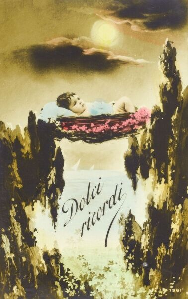 'Sweet Memories' - Italian kitsch postcard of a baby in a basket suspended between the topmost branches of two trees, looking out to sea. Date: 1918