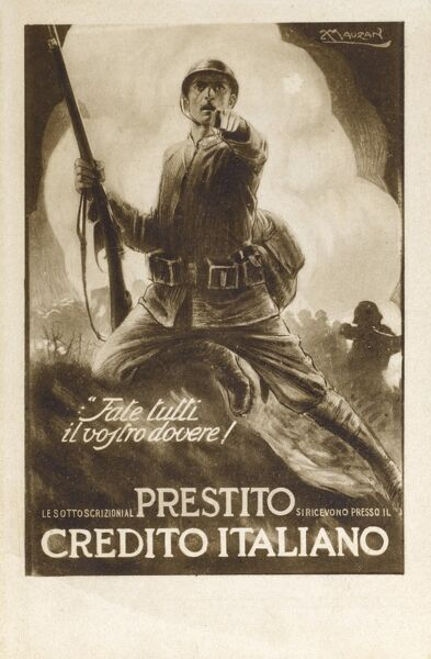 Italian Patriotic Card - Do your Duty, do your best! - extolling the national virtue of contributing to a bank savings scheme to aid the underwriting of the Italian war effort. Date: circa 1910s