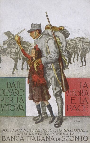 """Give money for the Victory - the victory and the Peace"" - a patriotic Italian card extrolling the national virtue of contributions to aid and underwrite the war effort. Date: circa 1910s"