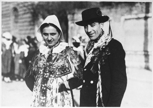 An peasant bride and groom in traditional wedding dress, Pinerolo, Italy