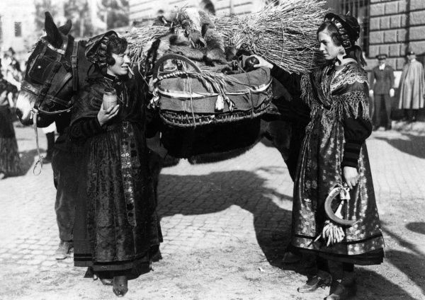Italian peasant women of Pinerolo, in traditional costume, preparing to take their basket paniers of apples to market. Note the straw saddle on their horse. Date: 1930s