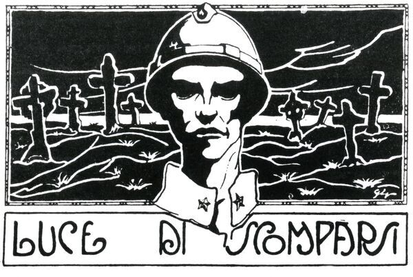 An Italian poster commemorating those lost during the First World War, with the words Luce Di Scomparsi, showing an Italian soldier with a cemetery in the background. Date: 1915-1918