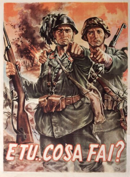 Italian recruitment poster, Second World War, featuring two soldiers asking the viewer what they are doing for the war effort.  1940s