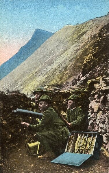 The Italians fought a ferocious war in the mountains of the Dolomites during the First World War - not only against each other but also against the hostile conditions. Date: circa 1916