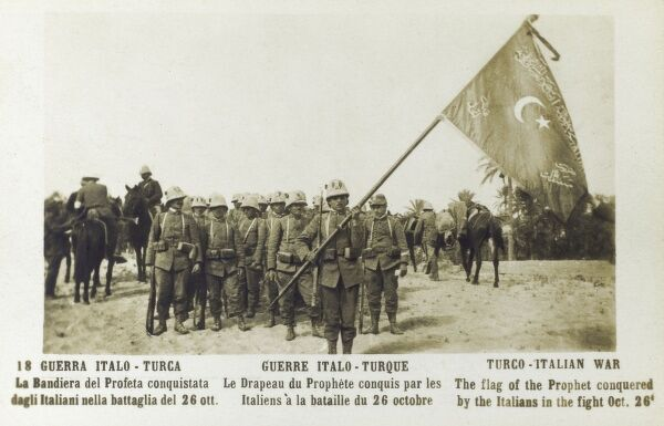 Italo-Turkish War - Libya - The flag of the Prophet captured by Italian soldiers during fighting on October 26th 1911 Date: 1911