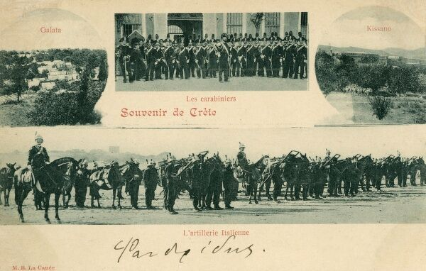 Italian troops on Crete, including cavalry, artillery and carabinieri. Although much of modern Greece had been independent since the 1820s, Crete remained in Ottoman hands. A Greek force arrived to annex the island in 1897 and the Great Powers acted