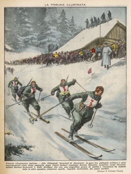 An Italian victory in the ski team event in the Winter Olympics at Garmisch, Germany