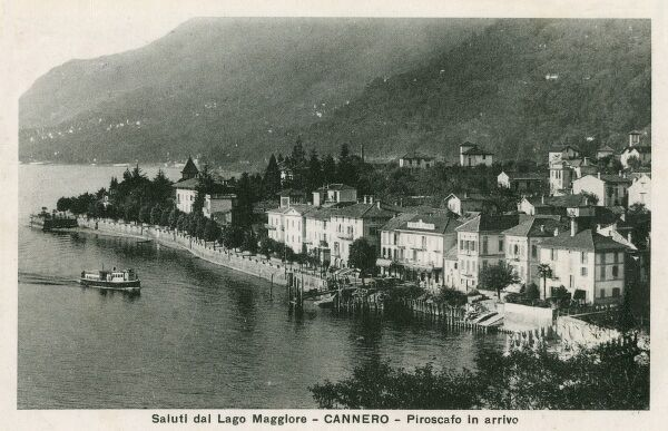 Italy - Cannero on the shore of Lake Maggiore - a ferryboat is arriving