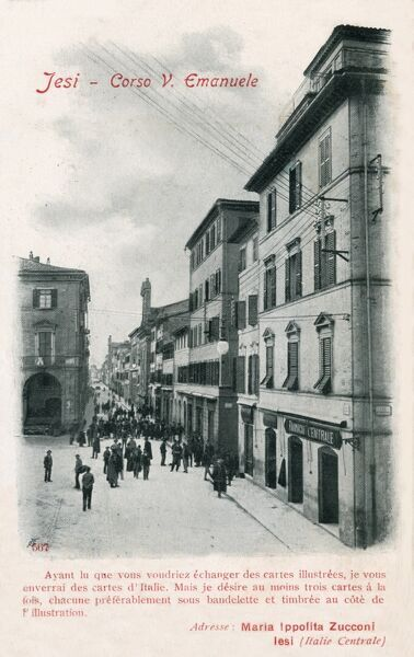 A view of the old Corsa (Street) Victor Emanuele at Jesi, Italy