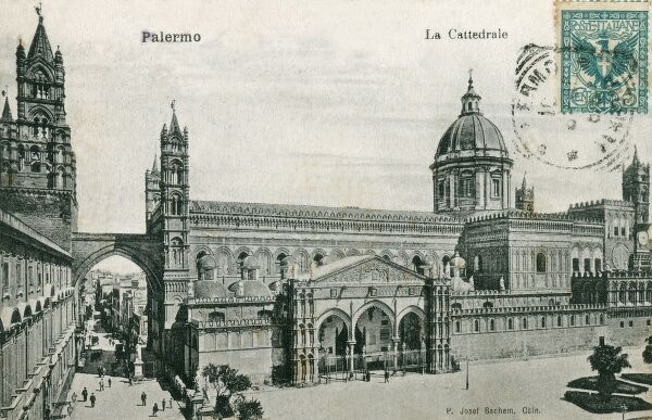 Italy - Palermo Cathedral - erected in 1185 by Walter Ophamil (or 'Walter of the Mill'), the Anglo-Norman archbishop of Palermo and King William II's minister, on the area of an earlier Byzantine basilica