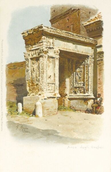 Arco Degli Argentari - (The Arcus Argentariorum) (Latin, 'Arch of the money-changers') - a 3rd century AD arch that was partly incorporated in the 7th century into the western wall of the nearby church of San Giorgio al Velabro in Rome