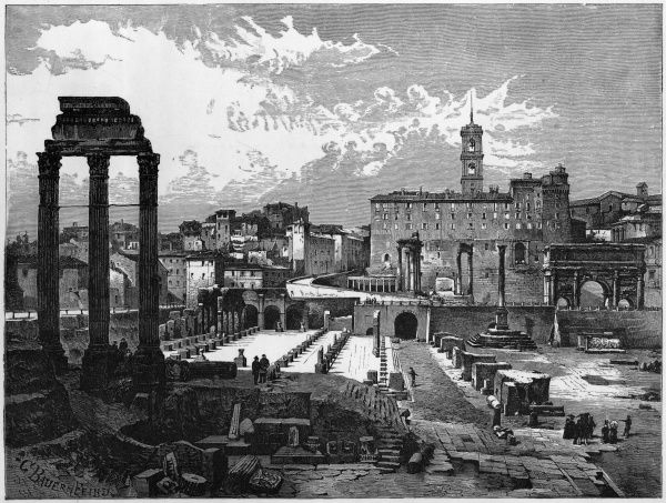 A mid-19th century view of the ruins of the Forum (Campo Vaccino)