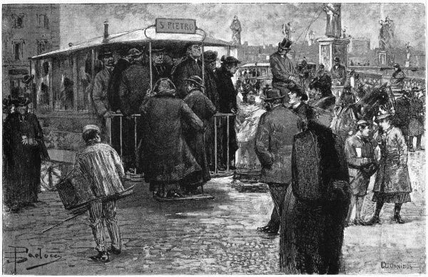 'Gli Omnibus' - Boarding a horse-bus in the streets of Rome