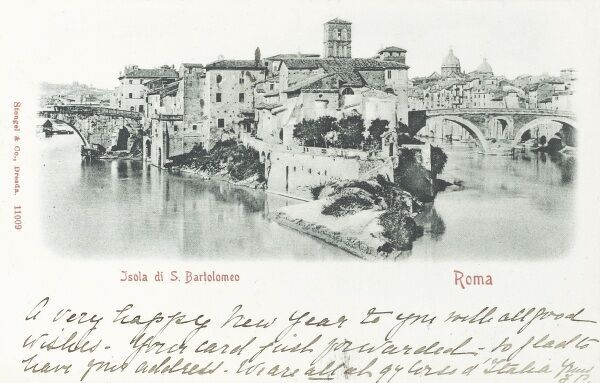 Italy - Rome - Tiber Island or Isola Tiberina, connected to the mainland by means of two ancient roman bridges. On the western side, Cestius Bridge or Ponte Cestio and on the eastern side Fabricius Bridge or Ponte Fabricio. Date: 1900