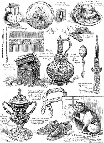 Engraving showing a number of relics from the sixteenth century exhibited in the Tudor Exhibition of 1890