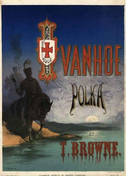 Cover design for a music sheet of the Ivanhoe Polka, by Thomas Browne, depicting two medieval horsemen in armour on the bank of a river in the moonlight, based on the novel by Sir Walter Scott