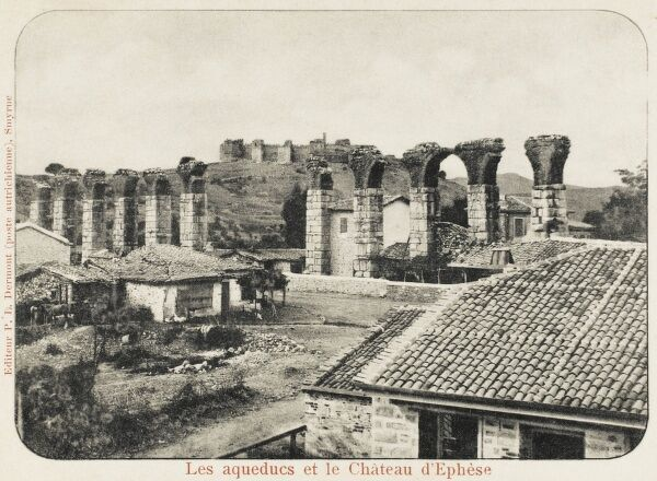 View toward the Roman Aqueduct and Castle at the site of the ancient city of Ephesus, Turkey close to Izmir (Smyrna)