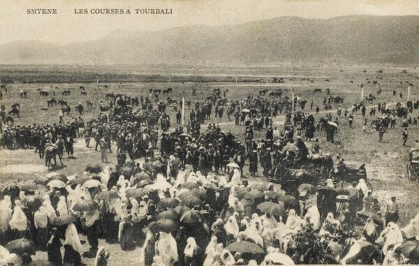 A rather chaotic scene at the Horse Racing course at Torbali close to Izmir (Smyrna)