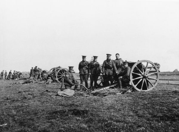 J battery of the Royal Horse Artillery, 5th Cavalry Brigade on the Western Front in France during World War I in 1914