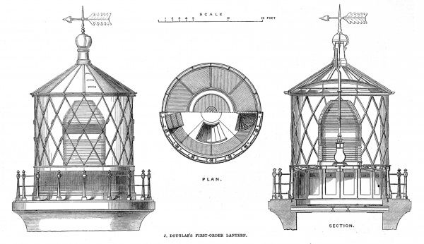 Engraving of J.Douglas's first order lantern, for use in lighthouses, as exhibited at the Paris International Exhibition, 1867