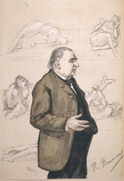 JEAN-MARTIN CHARCOT French neurologist, with some of his patients depicted in the background