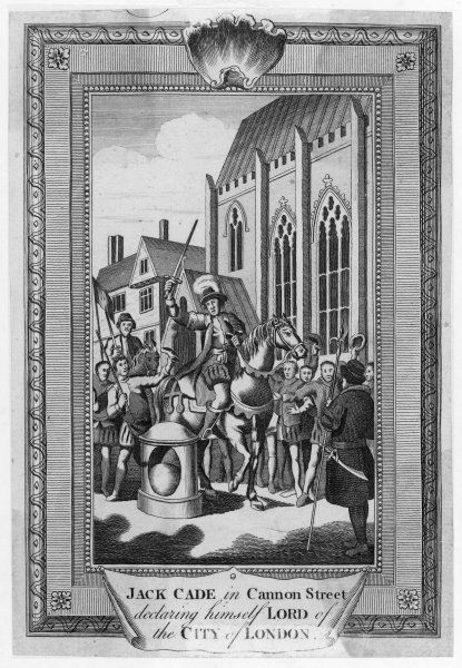 Jack Cade, an Irish-born rebel against Henry VI, declares himself lord of the City of London