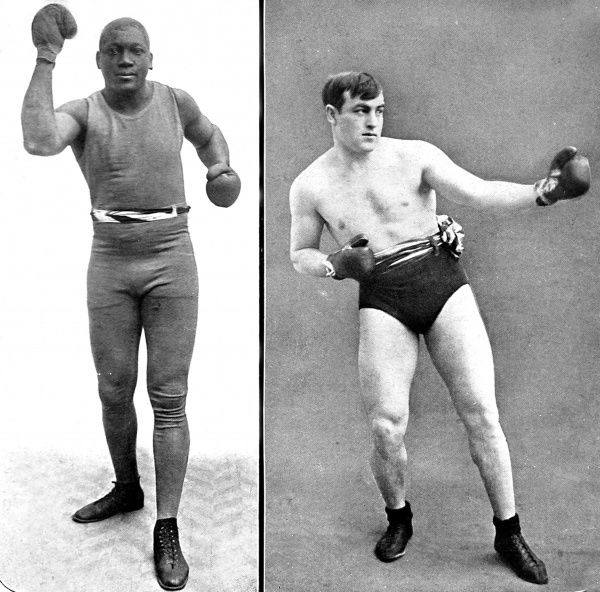 Photographs showing Jack Johnson (1878-1946)(left) and Tommy Burns (1881-1955), the heavyweight boxers who fought for the World Championship in Sydney, Australia, in 1908. Johnson won the fight and retained the championship until 1915