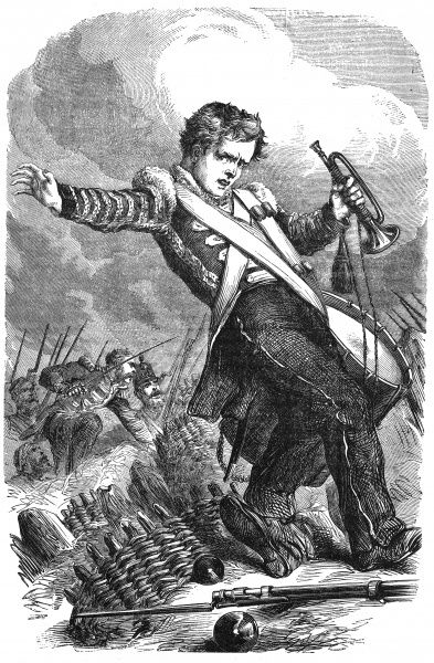Jack Kedge, brave drummer boy, shown on the battlefield with his bugle and drum. Date