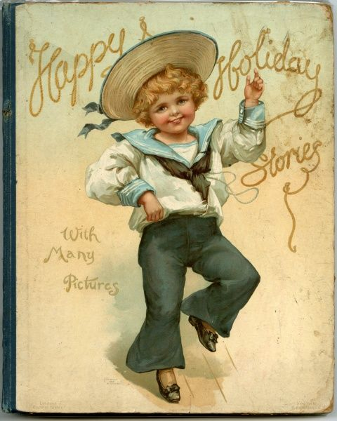 Blonde boy in a Jack Tar suit: white sailor blouse with pale blue collar & cuffs & black Jack Tar trousers & neckcloth, straw sailor hat with wide evase brim & ribbon band