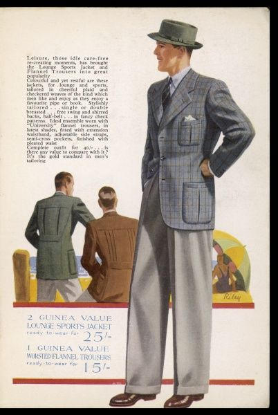 'Leisure, those idle care-free re-creating moments, has brought the Lounge Sports Jacket and Flannel Trousers into great popularity...&#39