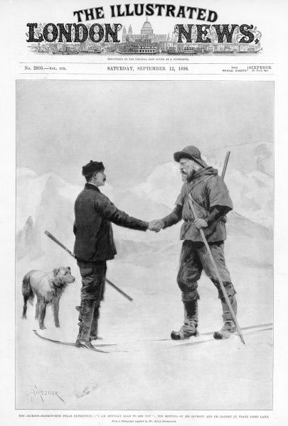 The meeting of Mr Jackson and Dr. Nansen in Franz Josef Land. The Jackson-Harmsworth Expedition went to Franz Josef Land with the intention of making an attempt to reach the North Pole. However, while preparing for their attempt, Fridtjhof Nansen