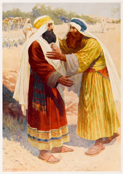 Jacob and his brother Esau meet after many years, and are reconciled